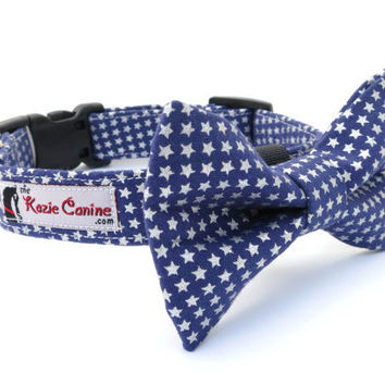 Dark Navy Blue Dog Collar with Silver Star Print (Matching Bow Tie Available Separately for Wedding & Special Occasion)