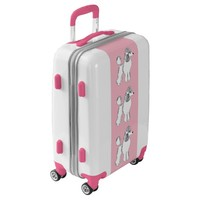 White Standard Poodles Pink Luggage Suitcase