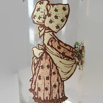 Vintage Holly Hobbie Collectible Drinking Glass, 1970's American Greetings Holly Hobbie Glass