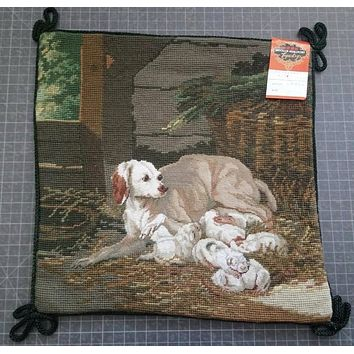 New Dog w/ Puppies Needlepoint Petit Point Green Brown Pillow Cover
