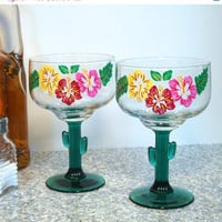 ON SALE Cactus Margarita Glasses With Painted Flowers
