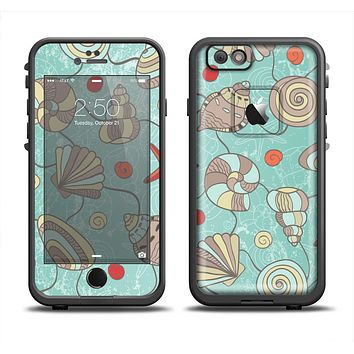 The Teal Vintage Seashell Pattern Apple iPhone 6 LifeProof Fre Case Skin Set