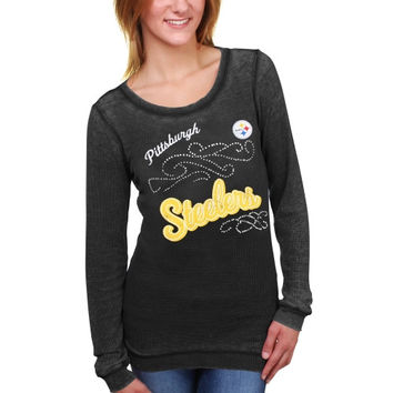 Pittsburgh Steelers Touch by Alyssa Milano Women's Blitz Burnout Thermal Long Sleeve Tri-Blend T-Shirt – Black