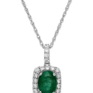 Emerald (3/4 ct. t.w.) and White Sapphire (3/8 ct. t.w.) Pendant Necklace in Sterling Silver | macys.com