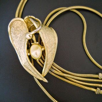 Modernist Gold Tone TORTOLANI Necklace, Dangles, Faux Pearl, Double Snake Chain, Estate Vintage