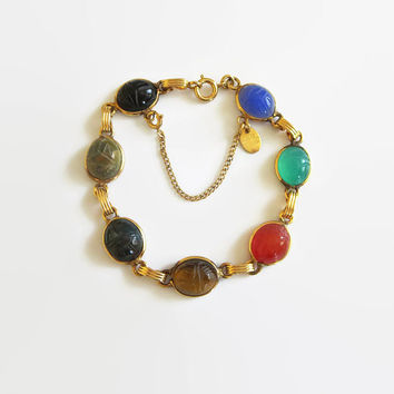 Vintage Burt Cassell Scarab Link Bracelet, 1/20 12K Gold Filled, Semi-Precious Stone Cabochons, Mid Century, Egyptian Revival, Nice!