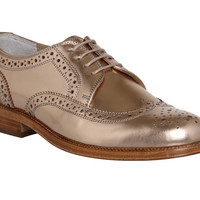 Office Billie Brogued Lace Up Rose Gold Leather - Flats