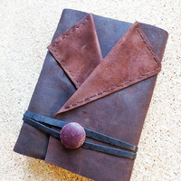 Leather Notebook Handbound Journal OOAK Diary, white paper,  Ready to Ship