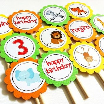 Wild Safari Animals Cupcake Toppers from Adorebynat