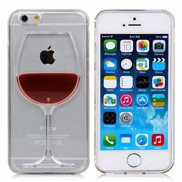 FOR WINE & iPHONE LOVERS -- Phone Case Liquid Quicksand Red Wine Stars Transparent PC Hard back Cover -- For iPhone 6 6S Plus 4 4S 5C 5 5S SE 7 7 Plus