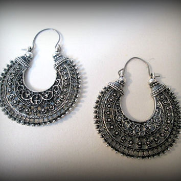 Tribal boho  Earrings , tibetan Silver Earrings , Large Hoop Earrings oxidised Handmade Jewelry