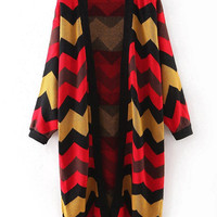 Zig-Zag Pattern Multicolored Long Sleeve Cardigan