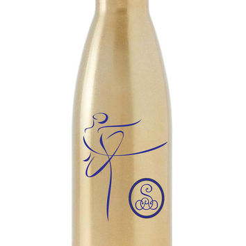 S'well Bottle Decal, Dancer with Monogram, Single Elegant Initial, Etched Glass Look Monogram, Dancer Monogram, Girls Room, Dancer Decal