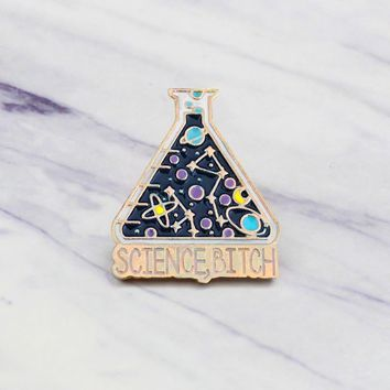"""Cartoon Chemical Experiment""""SCIENCE BITCH""""Experimental Cup enamel Brooch Laboratory badge pins Jewelry fashion accessories gifts"""