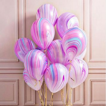 10pc/lot Marble Agate Latex 12inch Balloon Marblezided Party Balloon Birthday Party