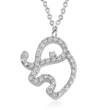 Simulated Diamond Sterling Silver Elephant Necklace 16 Inch