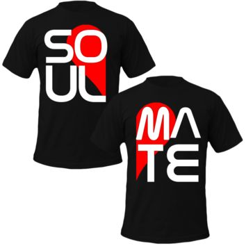 soul mate big letters Couple Tshirts