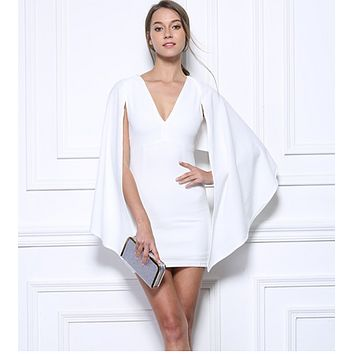 Deep V-neck cape cloak Queen Fan package hip skirt dress