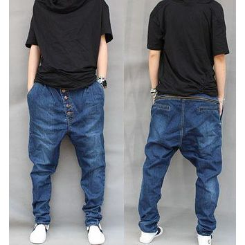 S-6XL Mens Denim Harem Baggy Trousers Tapered Jeans Casual Pants Drop Crotch Street Hip-hop New Cowboy Plus Size
