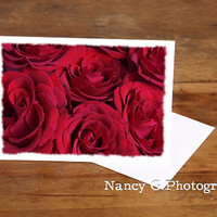 """Greeting Cards, Red Roses, Blank Card, 5""""x7"""", Card, Greeting Cards, Paper Goods, Note Cards, Blank Card, Anniversary Card, Gift For Her"""