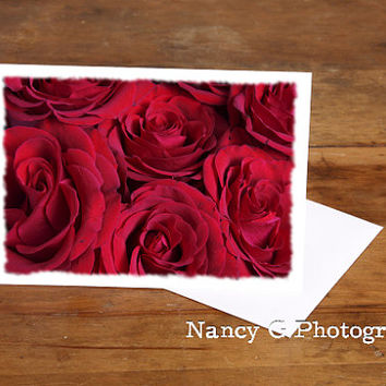 "Greeting Cards, Red Roses, Blank Card, 5""x7"", Card, Greeting Cards, Paper Goods, Note Cards, Blank Card, Anniversary Card, Gift For Her"