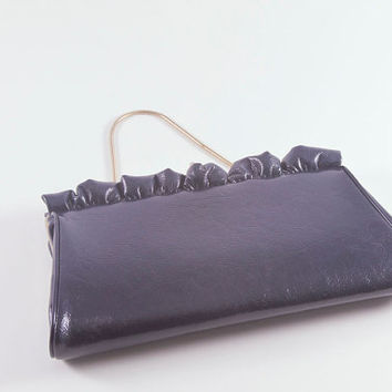 Vintage 1950s-1960s Navy Blue Scalloped Ruffle Clutch Purse Bag