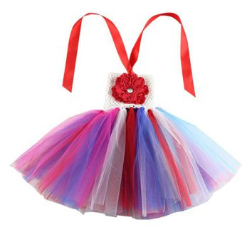 Kid Baby Little Girls Rainbow Tutu Dress Children Crochet Flower Tops Clothes For Party Christmas Halloween Festival Costume