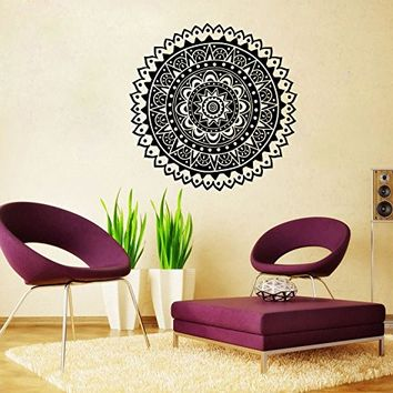 Mandala Wall Decal Namaste Indian Lotus Flower Yoga Ornament Geometric Moroccan Pattern Wall Vinyl Decals Sticker Home Decor Mural Design Graphic Bedroom (6071)