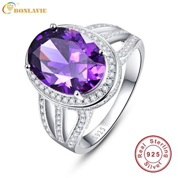 *10.2 Carats Amethyst Purple Rings Real Pure 925 Sterling Silver Antique Female Designs Oval Ring Engagement Jewelry