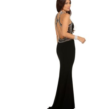 Pre-Order: Evelyn- Black Pearl Trimmed Prom Dress