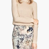 Floral Print Zipper-Pocket Mini Skirt