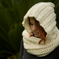 RESERVED Hooded Scarf, cream Crochet Hood