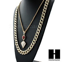 "LAB DIAMOND SHAPE 30"" CUBAN LINK CHAIN RED RUBY COMBO NECKLACE SET05"