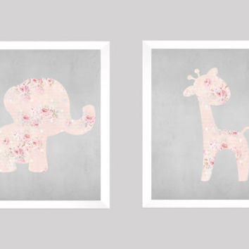 Elephant and Giraffe Shabby Chic Pink Roses Gray Chalk CUSTOMIZE YOUR COLORS, 8x10 Prints, Nursery Decor Print Kids Art Baby Room Baby Girl