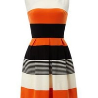 AX paris Striped skater dress Orange - House of Fraser