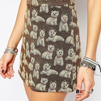 Reclaimed Vintage High Rise Mini Skirt With All Over Novelty Dog Print