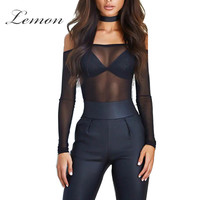 Lemon Sexy Off Shoulder Sheer Tops Party Club Style Slash Chocker Tee Long Sleeve T-shirt Crop Halter Spaghetti Strap Tops