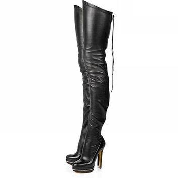 Ladies Boots Stretch PU Leather Over The Knee