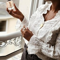 Fashion White Embroidery Lace Women Tops and Blouse Casual Holiday V Neck Polka Dot Shirt