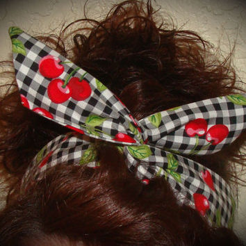 Dolly Bow, Retro, 50's style Rockabilly Black Checked Cherry Wire Headband