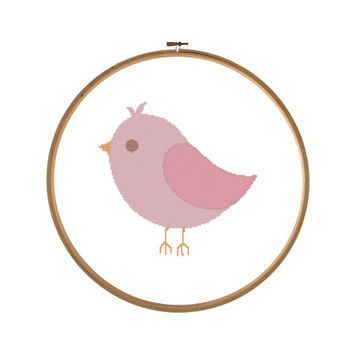 Pink Bird Cross Stitch Pattern