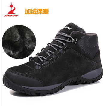 JIEWAY Waterproof Hiking Boots For Men Outdoor Genuiner Leather Mens Hiking Shoes Winter plush Warm Snow Boots Trekking Shoes