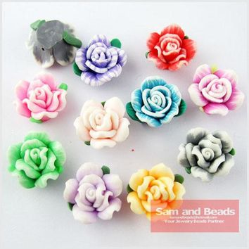 (30Pcs) Random Mixed Polymer Fimo Clay Flower With Leaf Spacer Beads Charms 15mm For Jewelry Making FM05