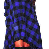 Blue Black Plaid Flannel Dress