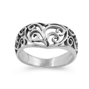 .925 Sterling Silver Infinity Celtic Heart Ring Size 5 6 7 8 9 10