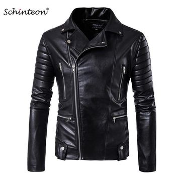 Trendy New Men Motorcycle Jacket Outwear Zipper Black Male Soft PU Leather Biker Coat High QualityM-5XL AT_94_13