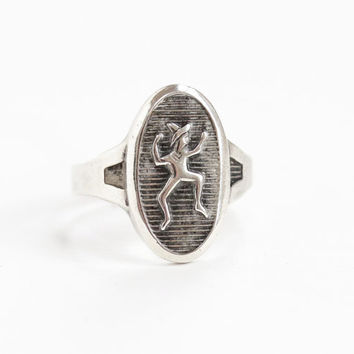 Vintage Sterling Silver Girl Scout Brownie Ring - Retro Adjustable Size 5 Cute Dancing Pixie, Elf, Gnome Motif Jewelry