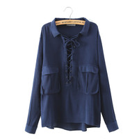 Women sexy lace up loose shirts plus size elegent long sleeve business work wear blouse European casual retro top LT834
