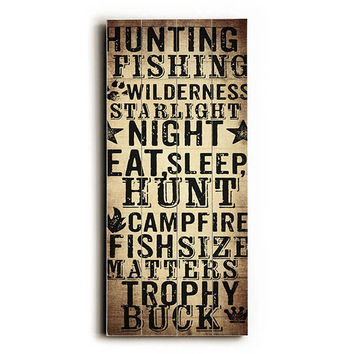 Hunting Fishing by Artist Dallas Drotz Wood Sign