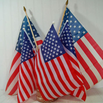 Vintage American Flags on Poles Collection of 5 Well Used Displayed Naturally Aged USA Flags Variety of Condition & 2 Sizes for Upcycling